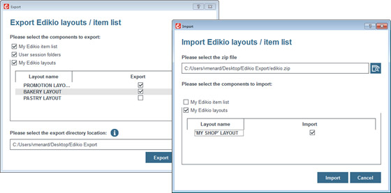 Edikio - Import and exports files over several computers